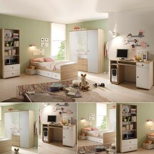 Jugendzimmer 7-teilig Kinderzimmer Wiki Sonoma Eiche sägerau weiß