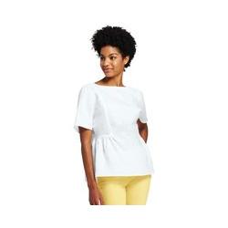 Besticktes Leinenshirt - S - Weiß
