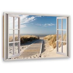 HomeLiving Deco-Panel geöffnetes Fenster zum Strand, Motiv siehe Bild/Beschreibung
