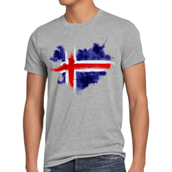 style3 Print-Shirt Herren T-Shirt Flagge Island Fußball Sport Iceland WM EM Fahne grau L