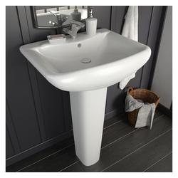 vidaXL Waschbecken vidaXL Freistehendes Waschbecken mit Säule Keramik Weiß 580x470x200 mm