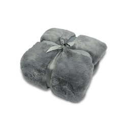 Wohndecke, jilda-tex, schwere, hochwertige und warme Fellimitat-Decke grau