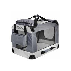Deuba Tiertransportbox, Hundetransportbox faltbar Katzentransportbox Tier Transport Tierbox Größe L grau 52 cm x 40 cm x 70 cm