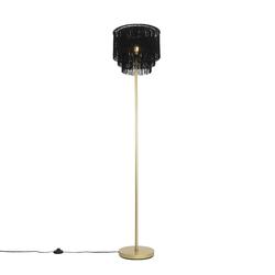 Orientalische Stehlampe goldschwarzer Schirm mit Fransen - Franxa