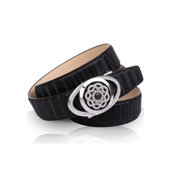 Anthoni Crown Ledergürtel mit silberfarbener Automatik-Schließe und drehender Kristallblume 105