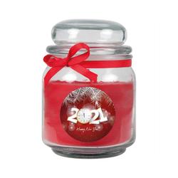 HS Candle Duftkerze (1-tlg), Frohes Neues Jahr - Kerze im Bonbon Glas, Kerze mit Neujahr - Motiv, vers. Düfte / Größen rot Ø 9 cm x 13 cm
