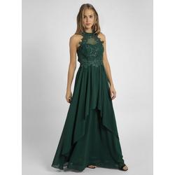 Apart Abendkleid nahezu rückenfrei, mit Trägern aus Spitze grün 40