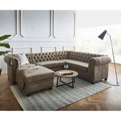 Couch Chesterfield 266 cm Taupe Abgesteppt Ottomane Links