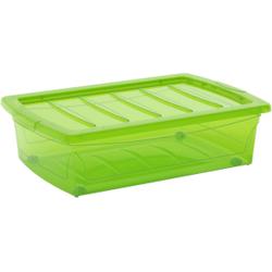 KIS Spinning Box Unterbettbox M, 30 Liter, Unterbettbox mit Rollen, Farbe: grün-transluzent