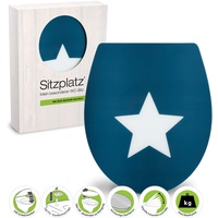 Sitzplatz SITZPLATZ® WC-Sitz Motiv Sternenlicht, Duroplast, Absenkautomatik, abnehmbar, Montage von oben, Standard O-Form blau