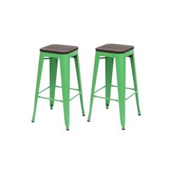 MCW Barhocker MCW-A73-Barhocker (Set, 2er), 2er-Set, Stapelbar, Fußstütze für bequemeres Sitzen grün