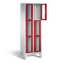 Schließfachschrank 6 Fächer mit Sichtfenster-Türen