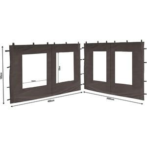 QUICK STAR 2 Seitenteile aus PE mit Fenster 300x195cm / 400x195cm für Pavillon 3x4m Seitenwand Anthrazit RAL 7012