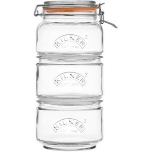 KILNER Vorratsglas, Glas, Edelstahl, (Set, 3-tlg., 2 x 0,88Liter, 1 x 0,9 Liter)