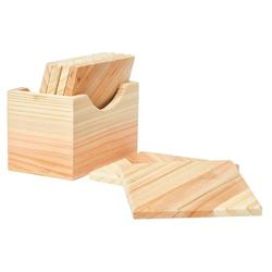VBS Bierdeckel, 7-tlg., Holz, 6 Stück