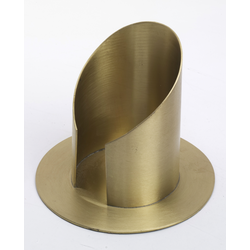Röhren Kommunionkerzenhalter mit Schlitz, Messing Gold matt gebürstet für Ø 7 cm Kommunionkerzen