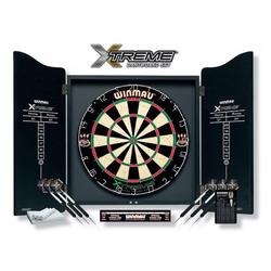 Winmau Dartscheibe Dartboard/Cabinet-Set Xtreme inkl. Zub., (Spar-Set, mit Dartboard und Cabinet), schwarzes Cabinet mit Holzmaserung