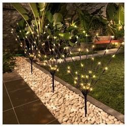 etc-shop Dekolicht, Solarlampen für Außen Gartendeko Solarleuchte Solar Lampe mit 3 Ästen, braun Erdspieß mit Schalter, 1x LED, L 900 cm