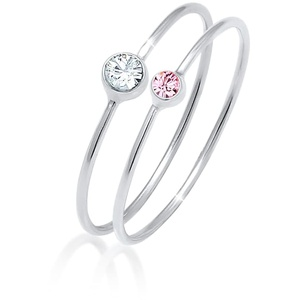 Ring Set Basic Trend Kristalle 925 Silber Elli Rosa - 64