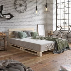 VitaliSpa Palettenbett 160x200 Bett Massivholzbett Holzbett Palettenmöbel Kopfteil