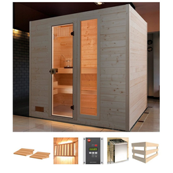 weka Sauna Lars Trend 2, BxTxH: 189 x 189 x 203,5 cm, 38 mm, 7,5 kW Ofen mit ext. Steuerung