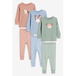 Next Pyjama Kuschelige Pyjamas mit Figuren, 3er-Pack (6 tlg) Long Set 86-92