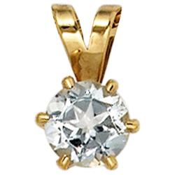 JOBO Kettenanhänger, 585 Gold mit Aquamarin