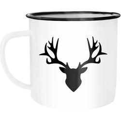 Autiga Tasse Emaille Tasse Becher Hirsch Geweih Kaffeetasse Autiga®, emailliert und mit Aufdruck