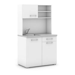Büroküche primo, mischbatterie, 1/2 türen, weiß