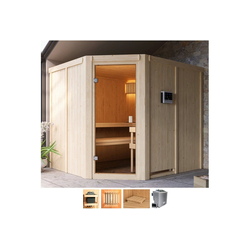 Karibu Sauna Henrika, BxTxH: 231 x 196 x 198 cm, 68 mm, 9-kW-Bio-Ofen mit ext. Steuerung