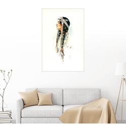 Posterlounge Wandbild, Indianerin 60 cm x 90 cm