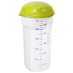 Rotho TAKE & SHAKE Salat/ Saucen Shaker, 1 Liter, Maße: 115 x 115 x 215 mm, Kunststoff, Farbe: transparent / lime grün