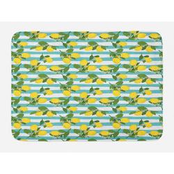 Badematte Plüsch Badezimmer Dekor Matte mit rutschfester Rückseite Abakuhaus, Zitronen Zitronenblüten Blätter Kunst