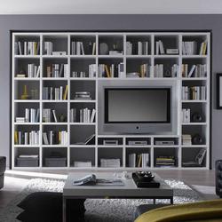 Fernseher Regalwand in Weiß Hochglanz 320 cm breit