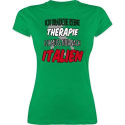 Shirtracer T-Shirt Ich brauche keine Therapie ich muss nur nach Italien - Länder Wappen - Damen Premium T-Shirt Fußball Flaggen Fahnen grün XL