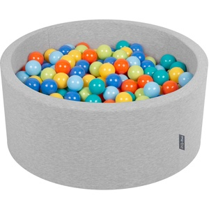 KiddyMoon Bällebad 90X40cm/300 Bälle ∅ 7Cm Bällepool Mit Bunten Bällen Für Babys Kinder Rund, Hellgrau:Hellgrün/Orange/Türkis/Blau/Babyblau/Gelb
