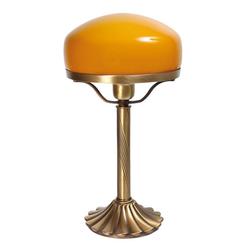 Licht-Erlebnisse Tischleuchte TABLE LAMP Tischlampe Pilzlampe Messing bronziert Orange E27 im Banker-Stil