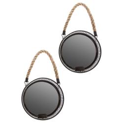 elbmöbel Wandkerzenhalter Spiegelwandblaker 2er Set Kerzenhalter, Dekoration: 2er Set Wandspiegel mit Kerzenhalter 18x18x6 cm schwarz metall