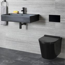 Wand-WC & 75cm Wand-Waschbecken Schwarz Keramik ohne Spülkasten - Nox, von Hudson Reed