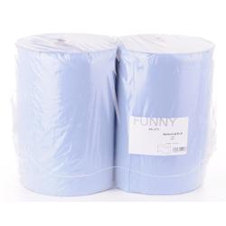 Papierputztuch auf Rolle, 36x38 cm, 3-lagig, blau, 1 Paket = 2 Rollen à 500 Abr. à 38 cm = 190 m/Ro., 1 Paket = 2 Rollen