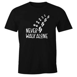 MoonWorks Print-Shirt Herren T-Shirt Never walk alone Hund Pfoten Hundepfoten Pfotenabdrücke Hundebesitzer Fun-Shirt Moonworks® mit Print schwarz XS