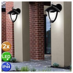 etc-shop LED Laterne, 2er Set LED Außen Wand Lampen Garten ALU Grundstück Laternen Glas Hof Leuchten