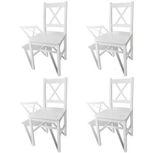 Tidyard 4er Set Küchenstuhl, Esszimmerstuhl, Holzstuhl mit Lehne, aus Massiver Kiefer, Weiß, 41,5 x 45,5 x 85,5 cm (B x T x H)