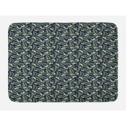 Badematte Plüsch Badezimmer Dekor Matte mit rutschfester Rückseite Abakuhaus, Jungle Leaves Blätter drucken Blossom