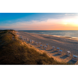 DesFoli Poster Sylt Strand Strandkorb Sonnenuntergang P2794 30 cm x 20 cm