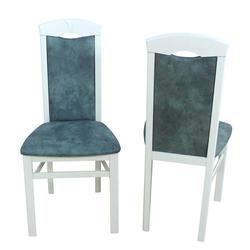 Stuhl Set in Weiß Buche Grau Blau Microfaser (2er Set)