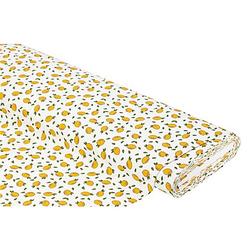 """Baumwollstoff Zitronen """"Mona"""", weiß/gelb"""