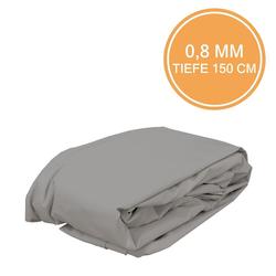 Poolfolie Oval 0,8mm Grau Einhängebiese 623 x 360 x 150 cm