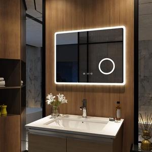 Meykoers Wandspiegel Badezimmerspiegel LED Badspiegel mit Beleuchtung 80x60cm, Spiegel mit Vergrößerung, Uhr, Touch-Schalter und Beschlagfrei, Kaltweiß 6400K