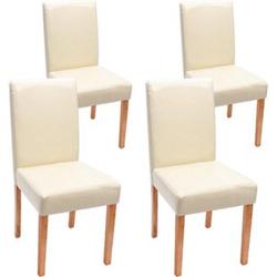 4x Esszimmerstuhl Stuhl Küchenstuhl Littau ~ Leder, creme helle Beine